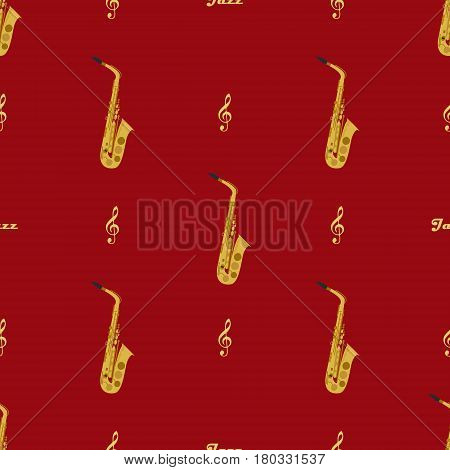 Seamless pattern with saxophones, treble clefs and word jazz. May be used for wrapping, book covers, envelope