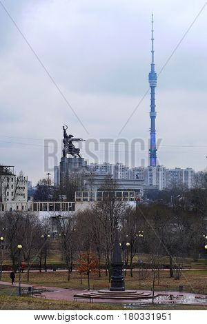 Moscow, Russia - March, 22, 2017: spring panorama of Moscow with Worker and Girl Farmer monument and Ostankino towr