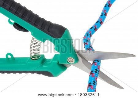 scissors cutting the rope isolated on white background