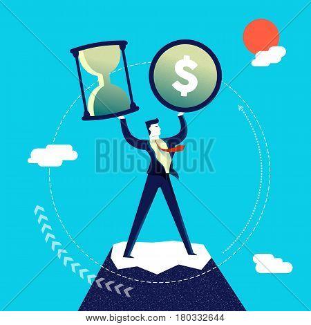Business multitasking concept illustration executive entrepreneur man juggling multiple work skills. Modern flat art design for professional project. EPS10 vector.