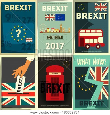 Brexit Posters Set. Britain exit from European Union. Vector Illustration.