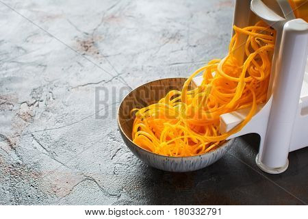 Spiralized Butternut Squash On The Grey Table