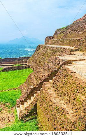 The Walls Of Sigiriya Upper Palace