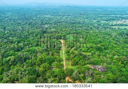 Aerial View Of Sigiriya Gardens