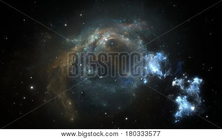 Outer space background with nebula and stars. Illustration