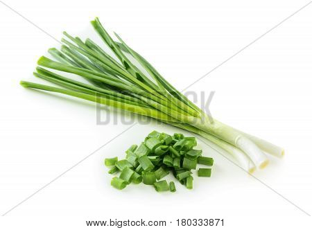 Chopped green onion isolated on white background