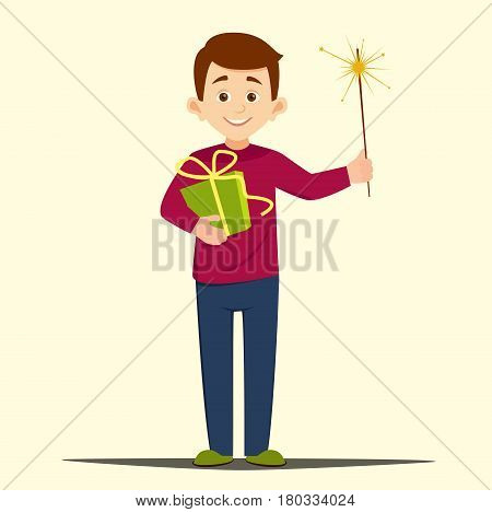 holiday concept, cartoon boy holding a gift and burning Sparkler vector illustration of isolated layers on a light background