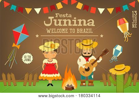 Festa Junina - Brazil June Carnival. Card Folklore Holiday. Vector Illustration.