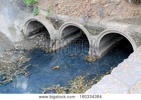 Toxic Water Running From Sewers In Dirty Underground Sewer For Dredging Drain Tunnel Cleaning In The