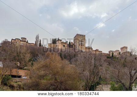 View of Alhambra from Darro river Granada Spain