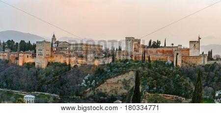 View of Alhambra from St. Nicholas Church Granada Spain