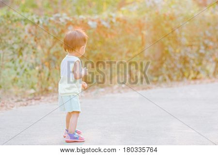 Asian baby girl learning to walk on her own in the park.
