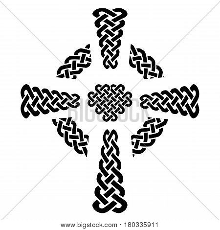 Celtic style knotted Cross with eternity knot patterns in white and black with surrounding rounded knot ring element  inspired by Irish St Patrick's Day, and Irish and Scottish carving art