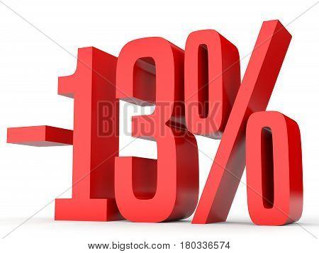 Minus Thirteen Percent. Discount 13 %.