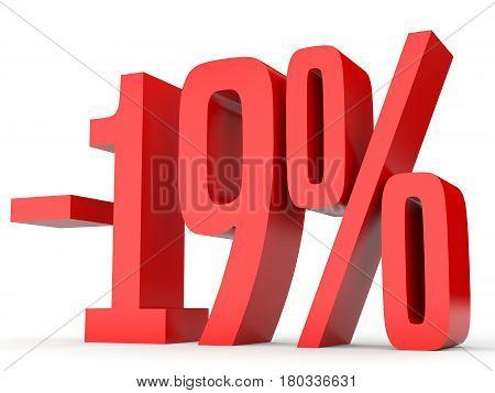 Minus Nineteen Percent. Discount 19 %.