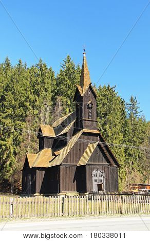 beautiful old wooden church in Bila, Czech Republic