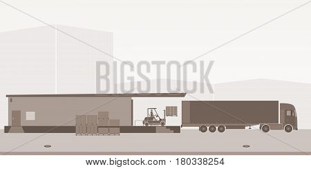 Logistics and Warehousing. Truck being charged with pallets by a forklift. Industrial landscape.