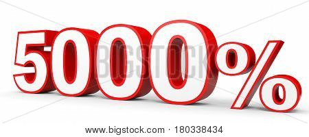 Five Thousand Percent. 5000 %. 3D Illustration.