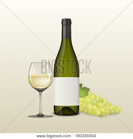 Vector realistic grapes brunch, wine glass and bottle of white wine illustartion. Design template, EPS10 illustration.