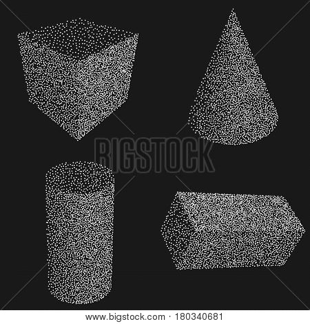 Dotwork Halftone Vector Parallelepiped Box Cylinder and Cone. Tattoo Style Vector Illustration on black