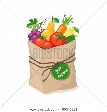 Paper bag with 100 percent organic food. Grocery paper bag with vegetables and fruits isolated on white background. Shopping in a market. Healthy lifestyle concept.