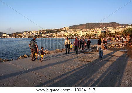 KUSADASI TURKEY - OCTOBER 4 2009: Promenade in the residential area