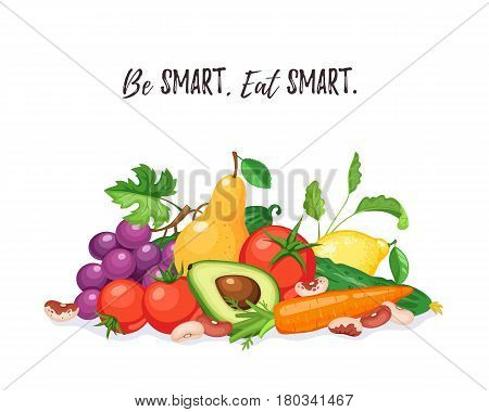 Fresh fruits and vegetables composition isolated on white background. Be smart, eat smart. Healthy lifestyle concept.