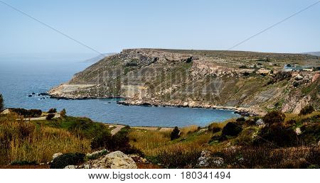 Northern Coast with cliffs and bay near Fomm ir-Rih, Malta