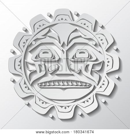 Vector illustration of the sun symbol. Modern stylization of North American and Canadian native art in white cut out