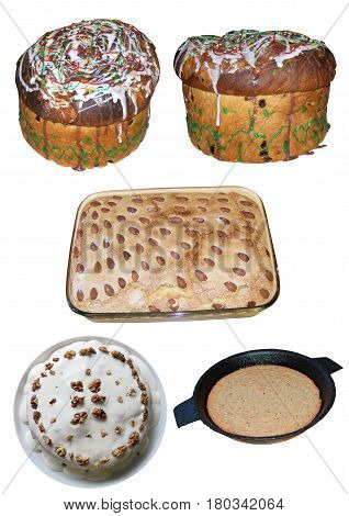 A set of baked goods. Pies cake and flat bread