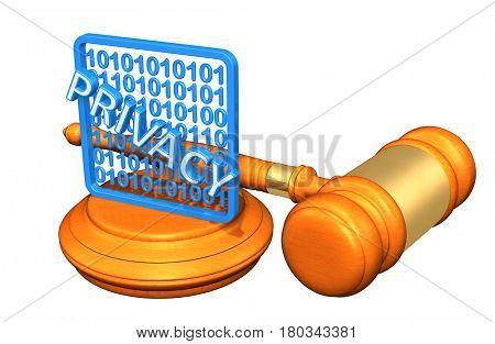 Data Privacy Legal Gavel Concept 3D Illustration