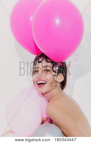 Happy Pretty Girl With Party Balloons