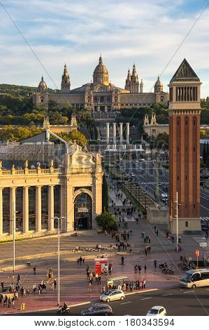 BARCELONA SPAIN - OCTOBER 23 2015: Placa d'Espanya also known as Plaza de Espana in Spanish is one of Barcelona's most important squares built on the occasion of the 1929 International Exhibition Spain