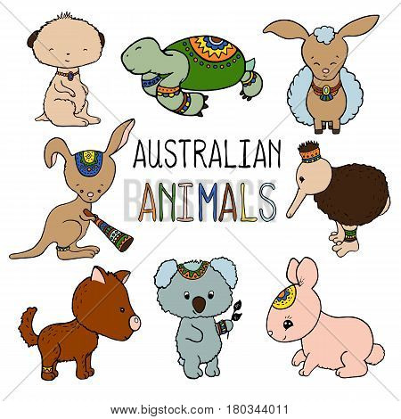 Australian animals colorful vector illustration on white background. Cute animals of Australia and New Zealand. Animals clipart for baby shower invitation or child birthday. Education or travel banner
