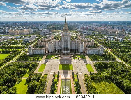 Aerial view of Lomonosov Moscow State University (MSU) on Sparrow Hills, Moscow, Russia