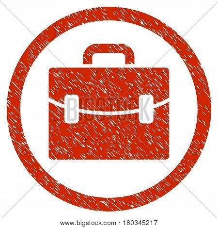 Case grainy textured icon inside circle for overlay watermark stamps. Flat symbol with scratched texture. Circled dotted vector red ink rubber seal stamp with grunge design on a white background.