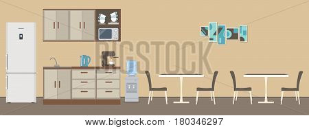 Dining room in the office. There are tables, chairs, kitchen cabinets, a fridge, a microwave, a kettle and a coffee machine in the image. There is a picture on the wall. Vector flat illustration.