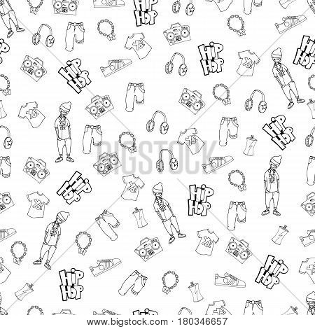 Seamless pattern in the style of hip-hop. Vector isolated image. Sketch. Wallpaper for web, print.