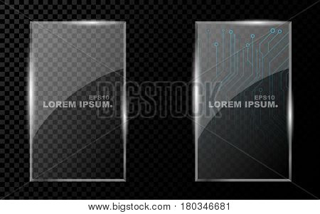 A banner from a flat realistic rectangle with sharp corners a hexagon and from a shining bright 3d glass on a dark transparent background. New technology cyber texture beautiful blue pattern. Shine from glass