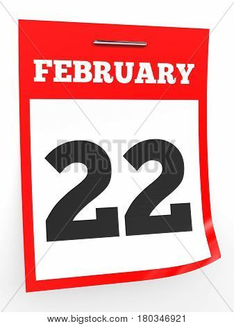 February 22. Calendar On White Background.