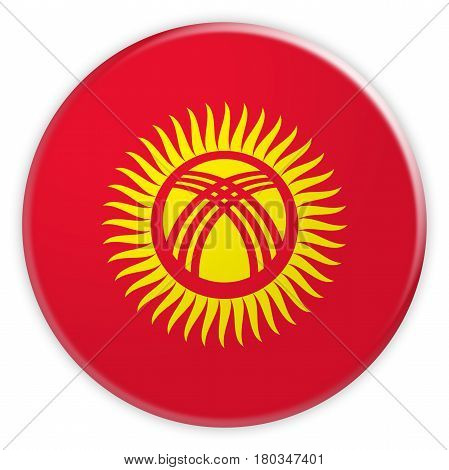 Kyrgyzstan Flag Button News Concept Badge 3d illustration on white background