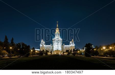 The Lomonosov Moscow State University (MSU) on Sparrow Hills at night, Moscow, Russia