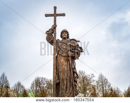 MOSCOW, RUSSIA - NOVEMBER 4, 2016: Monunent to Holy Prince Vladimir the Great on Borovitskaya Square near the Kremlin. Vladimir is credited with the introduction of Orthodox Christianity.