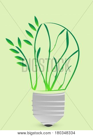Ecological fluorescent lamp icon in cartoon style isolated. Bio and ecology symbol stock vector illustration.