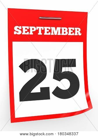 September 25. Calendar On White Background.