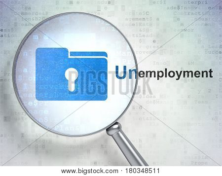 Finance concept: magnifying optical glass with Folder With Keyhole icon and Unemployment word on digital background, 3D rendering