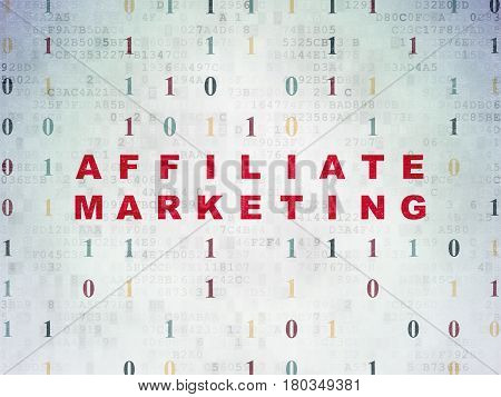 Business concept: Painted red text Affiliate Marketing on Digital Data Paper background with Binary Code