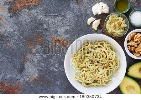 Spiralized Courgette Pasta On The Grey Table