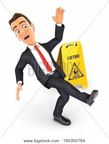 3d businessman slipping on wet floor illustration with isolated white background