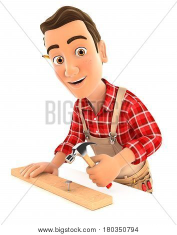 3d handyman nailing wooden plank with hammer illustration with isolated white background
